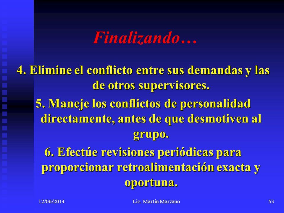 Finalizando… 4. Elimine el conflicto entre sus demandas y las de otros supervisores. 5. Maneje los conflictos de personalidad directamente, antes de q