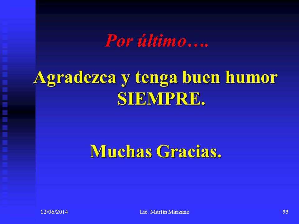 Por último…. Agradezca y tenga buen humor SIEMPRE. Muchas Gracias. 12/06/2014Lic. Martín Marzano55
