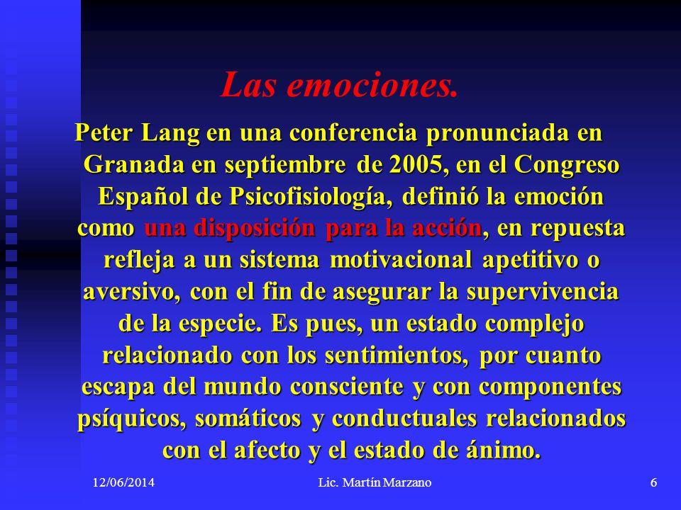 12/06/2014Lic. Martín Marzano6 Las emociones. Peter Lang en una conferencia pronunciada en Granada en septiembre de 2005, en el Congreso Español de Ps