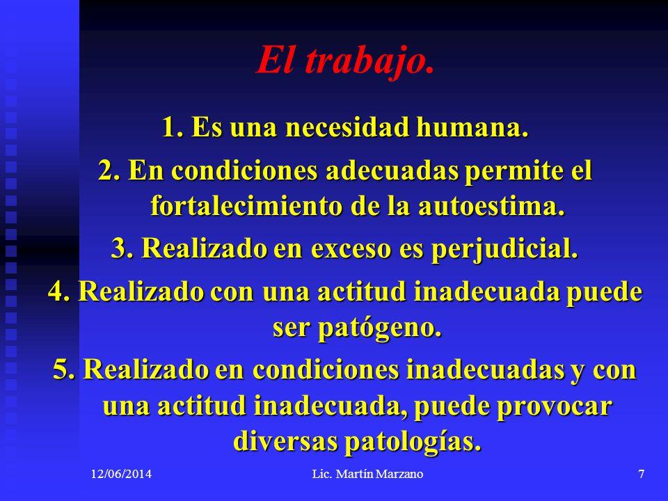 El trabajo. 1. Es una necesidad humana. 2. En condiciones adecuadas permite el fortalecimiento de la autoestima. 3. Realizado en exceso es perjudicial