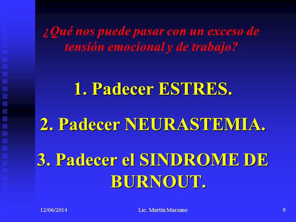 3.El Síndrome de Burnout. Mas recientemente, 1998, D.