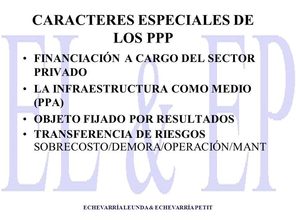 ECHEVARRÍA LEUNDA & ECHEVARRÍA PETIT CARACTERES ESPECIALES DE LOS PPP FINANCIACIÓN A CARGO DEL SECTOR PRIVADO LA INFRAESTRUCTURA COMO MEDIO (PPA) OBJETO FIJADO POR RESULTADOS TRANSFERENCIA DE RIESGOS SOBRECOSTO/DEMORA/OPERACIÓN/MANT