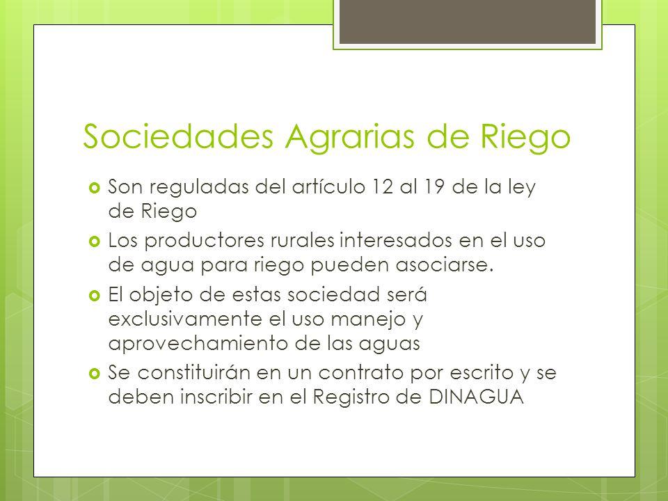 Sociedades Agrarias de Riego Son reguladas del artículo 12 al 19 de la ley de Riego Los productores rurales interesados en el uso de agua para riego p
