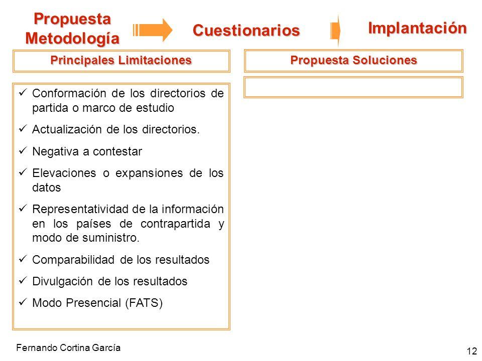Fernando Cortina García 12 Propuesta Metodología Cuestionarios Implantación Principales Limitaciones Conformación de los directorios de partida o marc