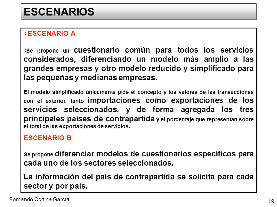 Fernando Cortina García 19 ESCENARIOS ESCENARIO A Se propone un cuestionario común para todos los servicios considerados, diferenciando un modelo más