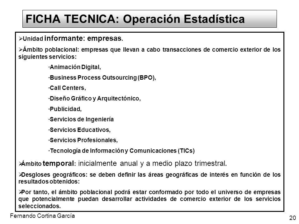 Fernando Cortina García 20 FICHA TECNICA: Operación Estadística Unidad informante: empresas. Ámbito poblacional: empresas que llevan a cabo transaccio