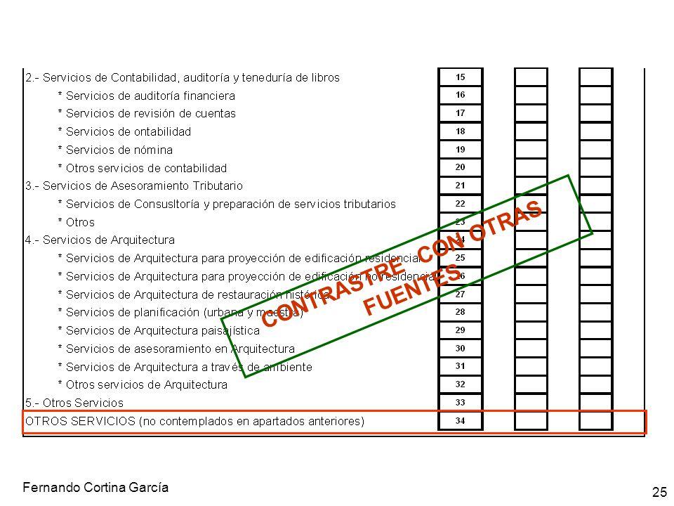 Fernando Cortina García 25 CONTRASTRE CON OTRAS FUENTES