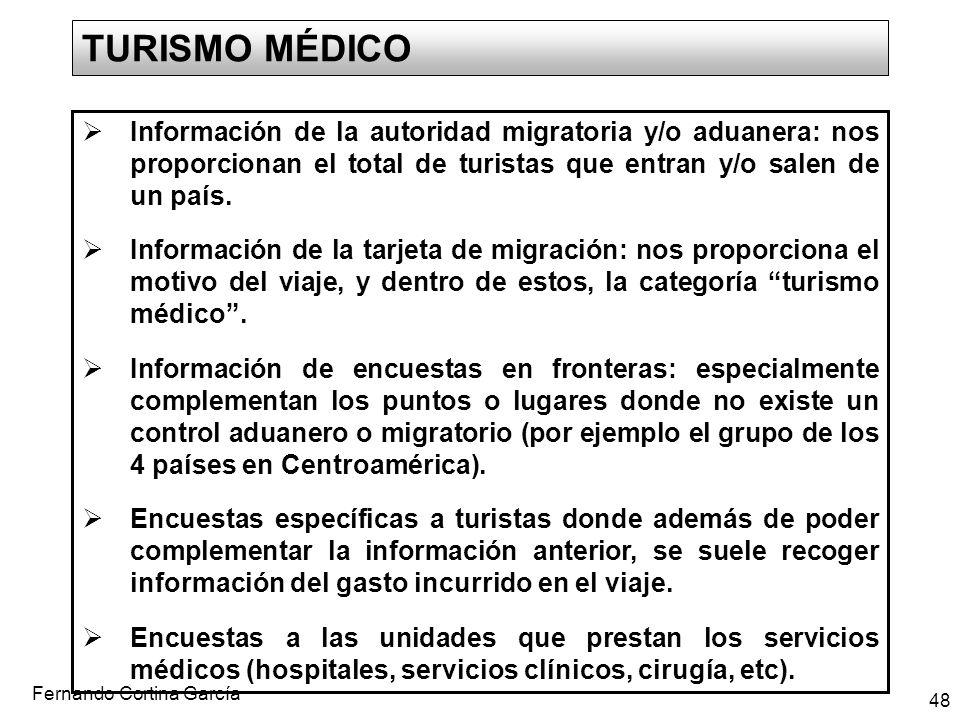 Fernando Cortina García 48 TURISMO MÉDICO Información de la autoridad migratoria y/o aduanera: nos proporcionan el total de turistas que entran y/o sa