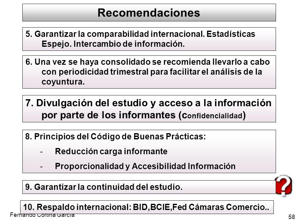 Fernando Cortina García 58 Recomendaciones 5. Garantizar la comparabilidad internacional. Estadísticas Espejo. Intercambio de información. 6. Una vez