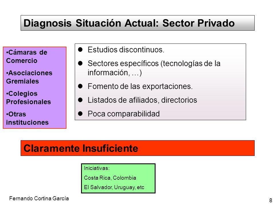 Fernando Cortina García 8 Diagnosis Situación Actual: Sector Privado Estudios discontinuos. Sectores específicos (tecnologías de la información, …) Fo