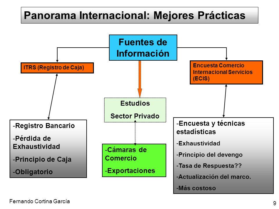 Fernando Cortina García 9 Panorama Internacional: Mejores Prácticas Fuentes de Información Estudios Sector Privado -Registro Bancario -Pérdida de Exha