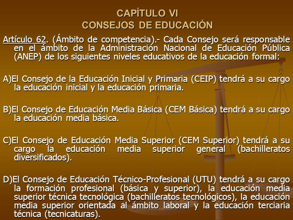 CAPÍTULO VI CONSEJOS DE EDUCACIÓN CAPÍTULO VI CONSEJOS DE EDUCACIÓN Artículo 62.