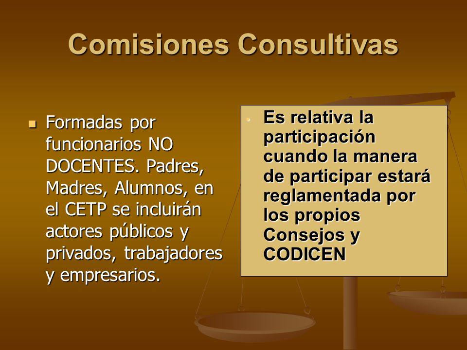 Comisiones Consultivas Formadas por funcionarios NO DOCENTES.