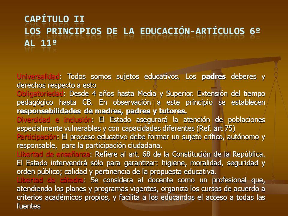 Con fecha 30 de diciembre de 2008, el MEC planteó algunos aspectos que entiende se deben jerarquizar en el proceso de instrumentación de la LGE, a su vez la propia Ley establece plazos que a continuación se detallan : Desde el 1 de enero 2009Incorporación de niños de 4 años en educación primaria(Título VI, literal B) Desde el 1 de enero 2009Incorporación de niños de 4 años en educación primaria(Título VI, literal B) Antes de 90 días de promulgación de esta LeyConstitución de la comisión para la creación del CEMB,(Título VI, literal G, art.