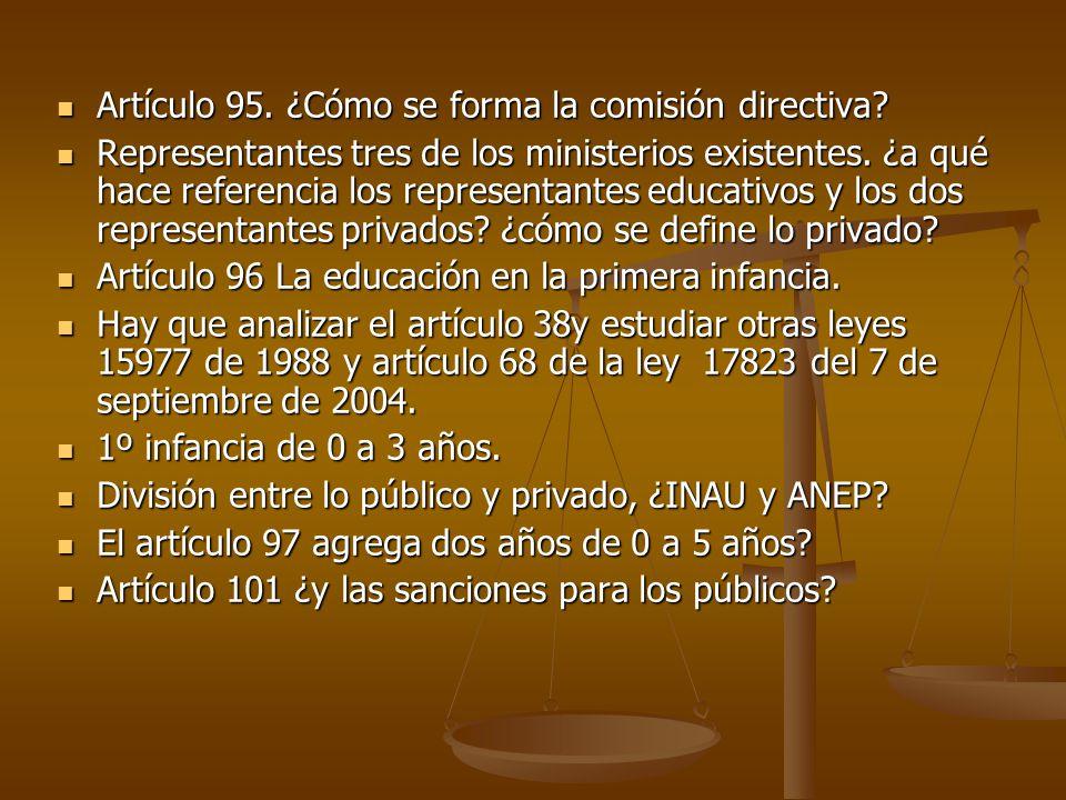 Artículo 95. ¿Cómo se forma la comisión directiva.