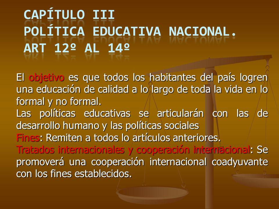 CAPÍTULO XIV – Descentralización y Coordinación Territorial.