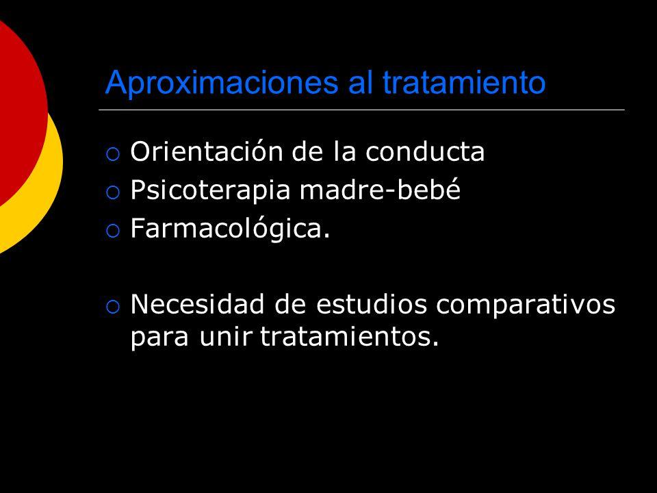 Aproximaciones al tratamiento Orientación de la conducta Psicoterapia madre-bebé Farmacológica. Necesidad de estudios comparativos para unir tratamien