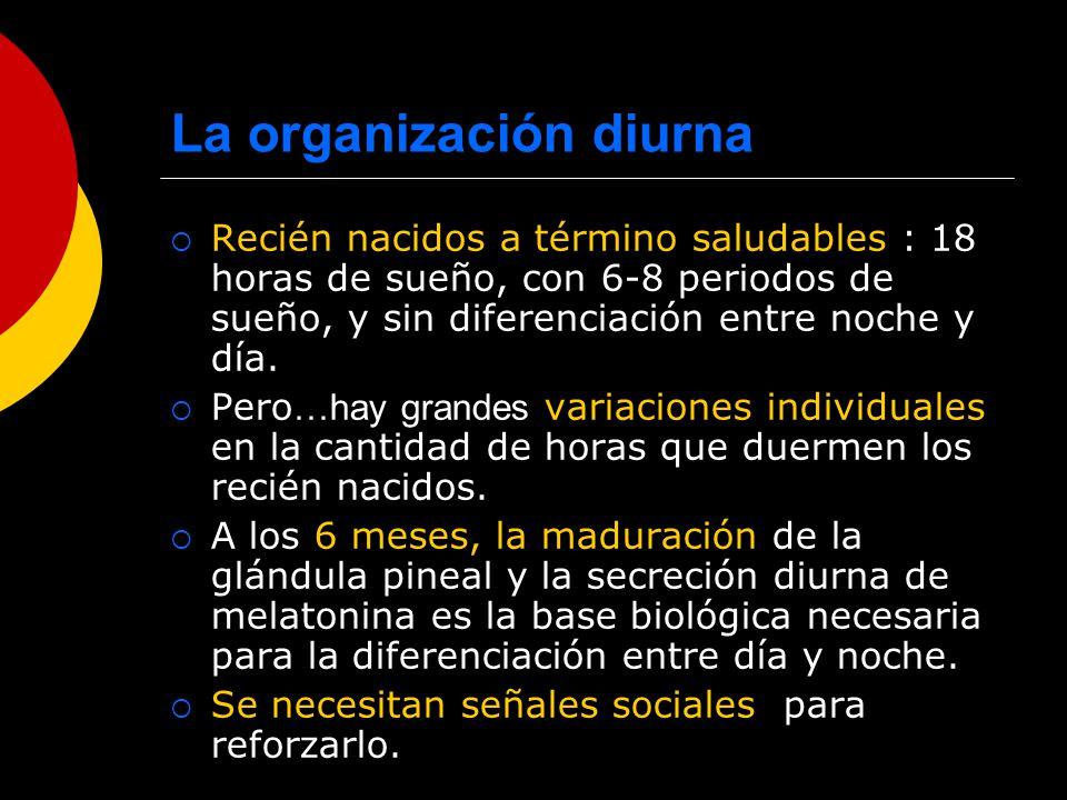 La organización diurna Recién nacidos a término saludables : 18 horas de sueño, con 6-8 periodos de sueño, y sin diferenciación entre noche y día. Per