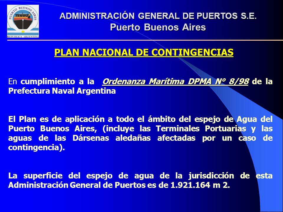 Ordenanza Marítima DPMA N° 8/98 En cumplimiento a la Ordenanza Marítima DPMA N° 8/98 de la Prefectura Naval Argentina El Plan es de aplicación a todo