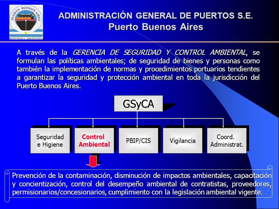 ADMINISTRACIÓN GENERAL DE PUERTOS S.E. Puerto Buenos Aires A través de la GERENCIA DE SEGURIDAD Y CONTROL AMBIENTAL, se formulan las políticas ambient