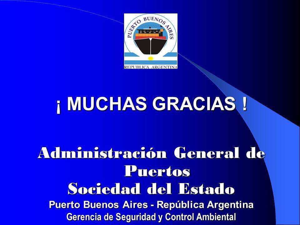 ¡ MUCHAS GRACIAS ! Administración General de Puertos Sociedad del Estado Puerto Buenos Aires - República Argentina Gerencia de Seguridad y Control Amb