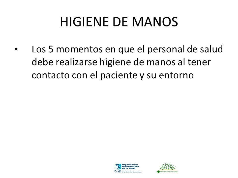 HIGIENE DE MANOS Los 5 momentos en que el personal de salud debe realizarse higiene de manos al tener contacto con el paciente y su entorno