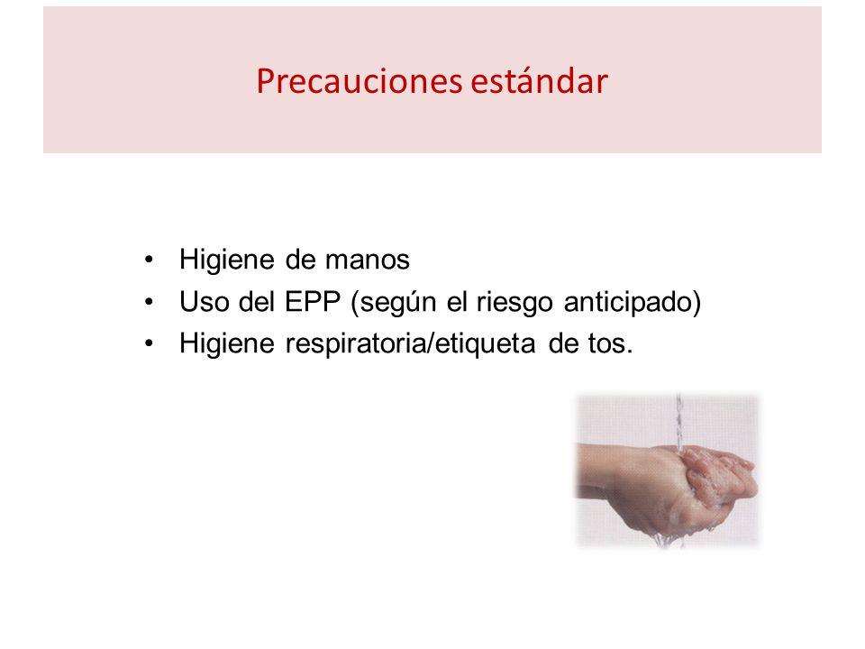 Precauciones estándar Higiene de manos Uso del EPP (según el riesgo anticipado) Higiene respiratoria/etiqueta de tos.