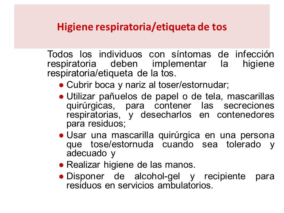 Higiene respiratoria/etiqueta de tos Todos los individuos con síntomas de infección respiratoria deben implementar la higiene respiratoria/etiqueta de
