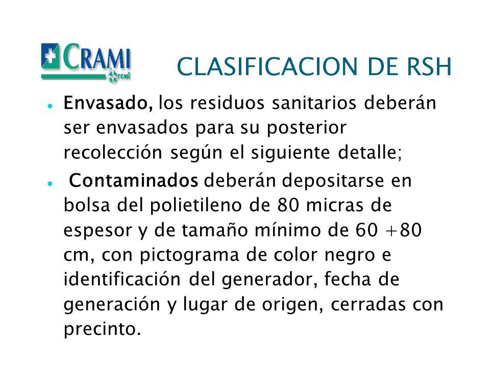 CLASIFICACION DE RSH Envasado, los residuos sanitarios deberán ser envasados para su posterior recolección según el siguiente detalle; Contaminados de