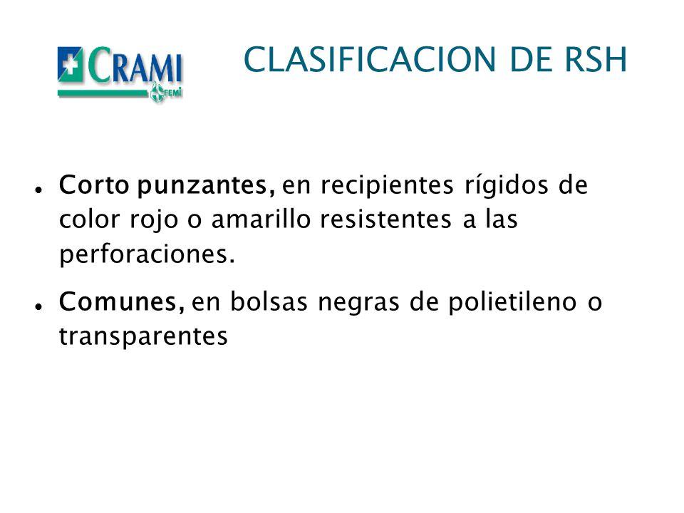CLASIFICACION DE RSH Corto punzantes, en recipientes rígidos de color rojo o amarillo resistentes a las perforaciones. Comunes, en bolsas negras de po