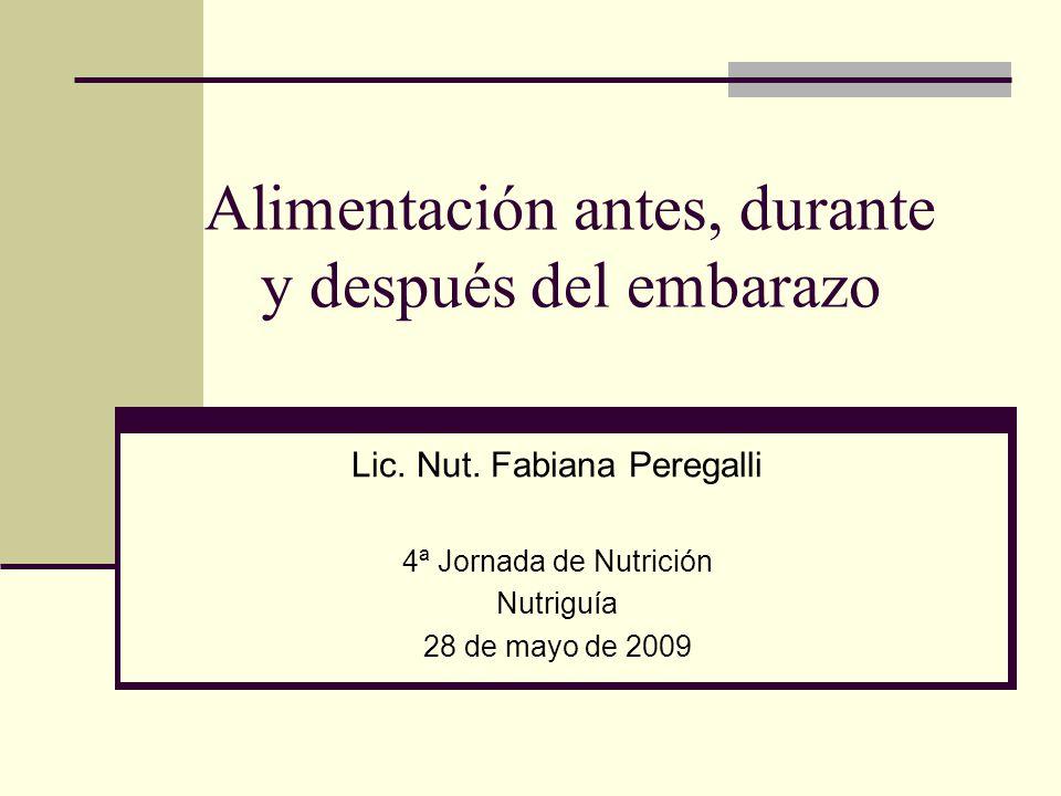 Alimentación antes, durante y después del embarazo Lic. Nut. Fabiana Peregalli 4ª Jornada de Nutrición Nutriguía 28 de mayo de 2009