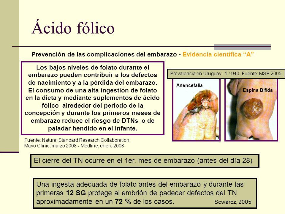 Ácido fólico Prevención de las complicaciones del embarazo - Evidencia científica A El cierre del TN ocurre en el 1er. mes de embarazo (antes del día
