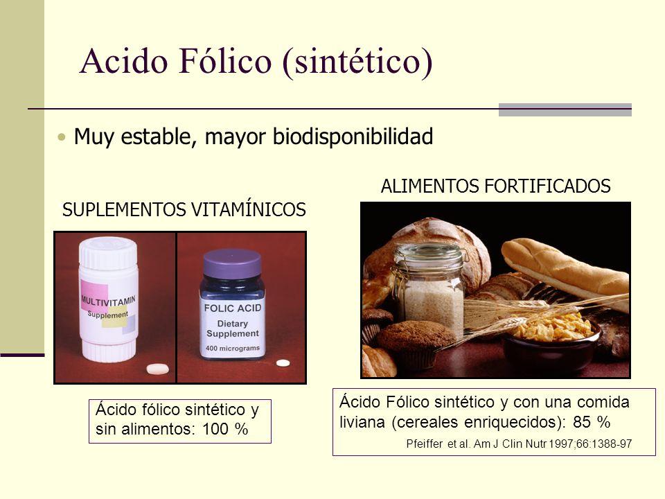 Muy estable, mayor biodisponibilidad - ALIMENTOS FORTIFICADOS SUPLEMENTOS VITAMÍNICOS Acido Fólico (sintético) Ácido fólico sintético y sin alimentos: