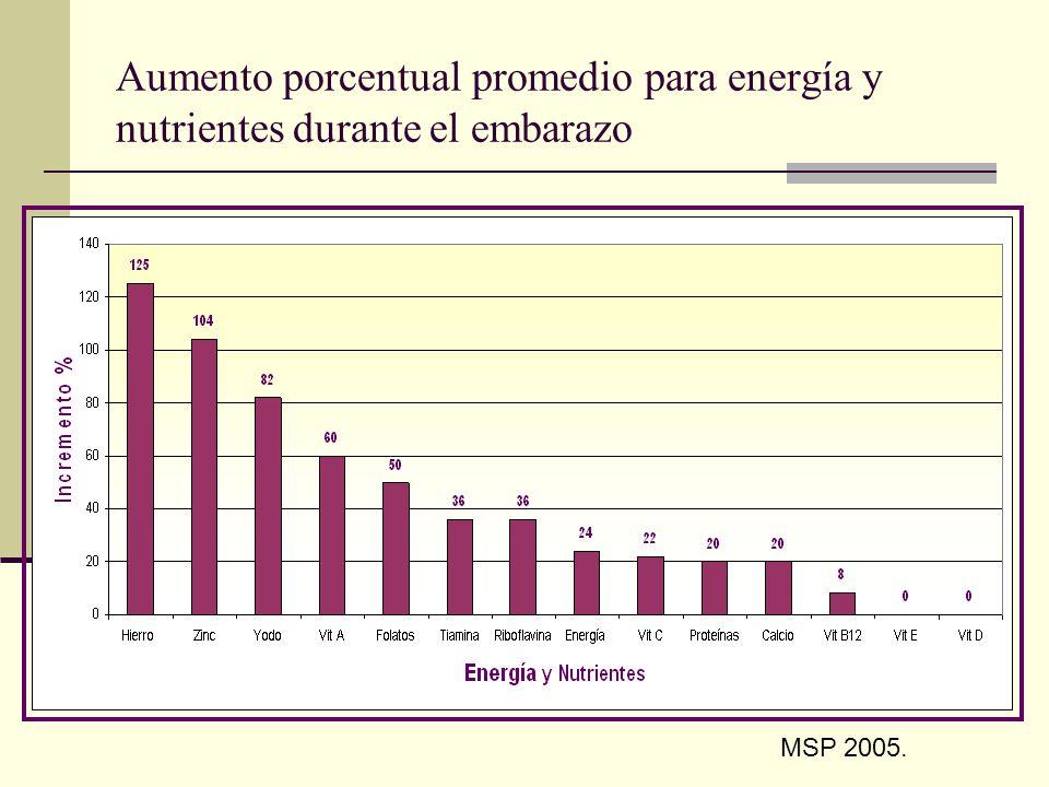 Aumento porcentual promedio para energía y nutrientes durante el embarazo MSP 2005.