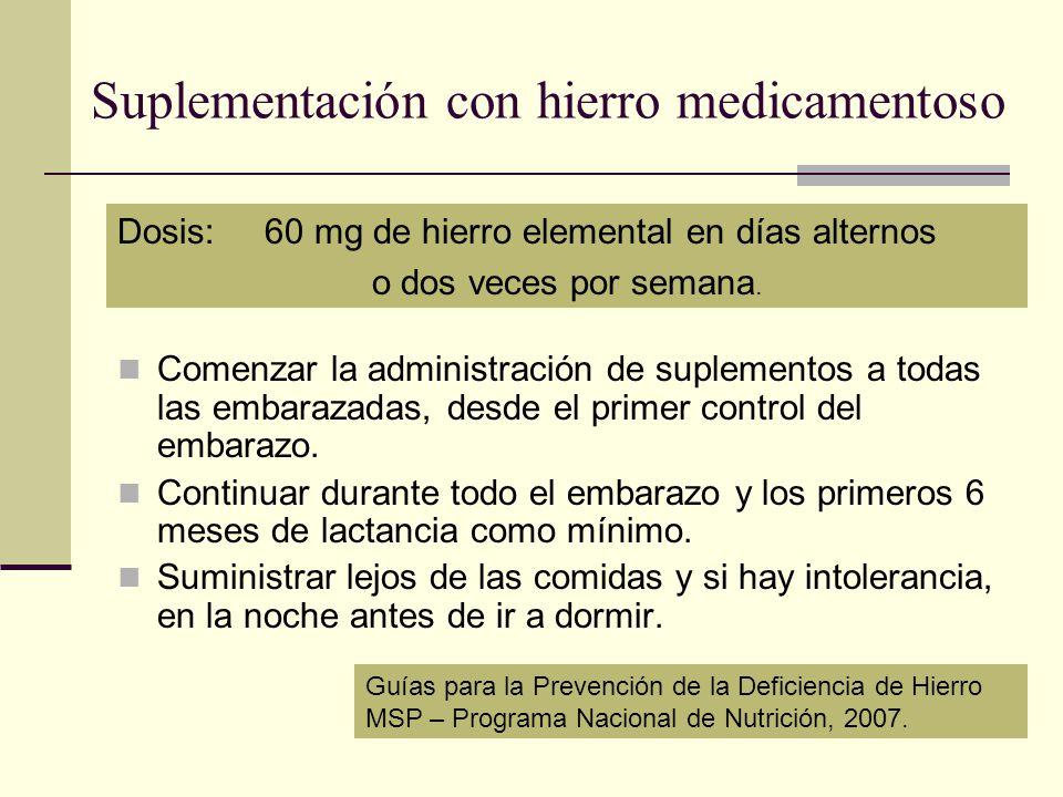 Suplementación con hierro medicamentoso Comenzar la administración de suplementos a todas las embarazadas, desde el primer control del embarazo. Conti