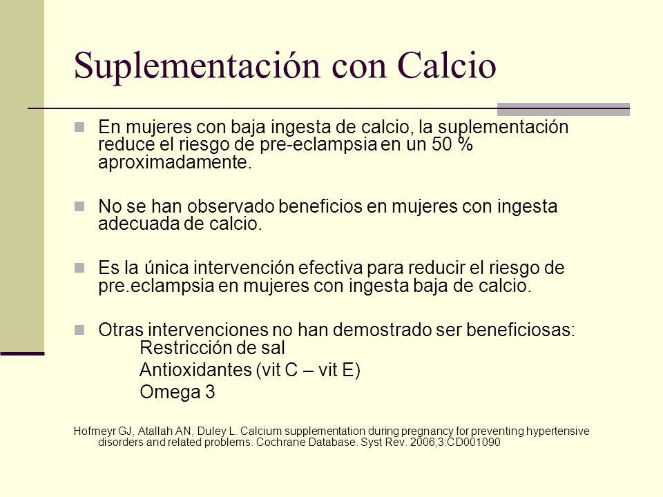 Suplementación con Calcio En mujeres con baja ingesta de calcio, la suplementación reduce el riesgo de pre-eclampsia en un 50 % aproximadamente. No se