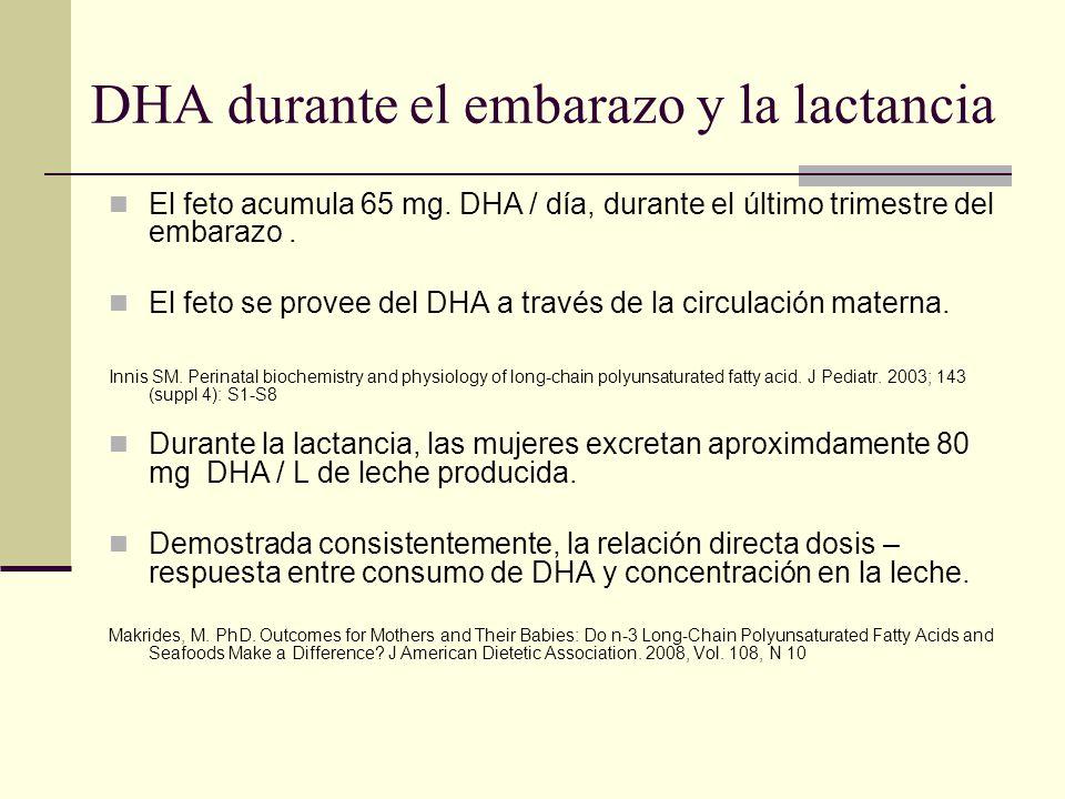 DHA durante el embarazo y la lactancia El feto acumula 65 mg. DHA / día, durante el último trimestre del embarazo. El feto se provee del DHA a través