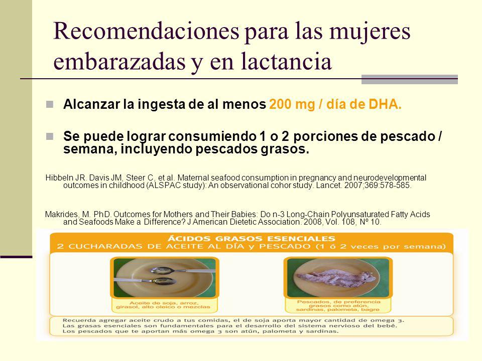 Recomendaciones para las mujeres embarazadas y en lactancia Alcanzar la ingesta de al menos 200 mg / día de DHA. Se puede lograr consumiendo 1 o 2 por