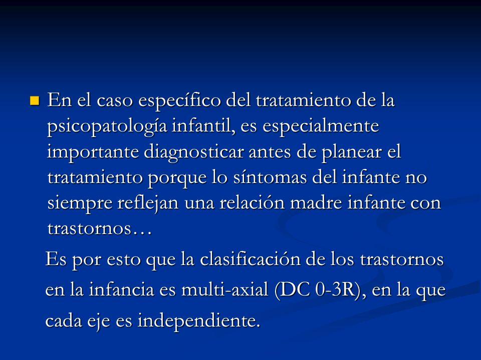 En el caso específico del tratamiento de la psicopatología infantil, es especialmente importante diagnosticar antes de planear el tratamiento porque l