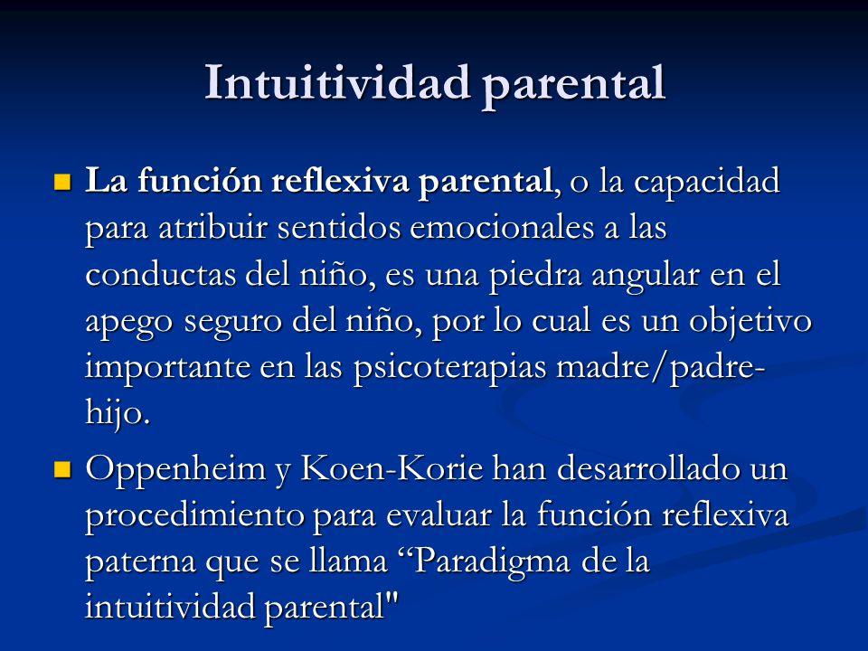 Intuitividad parental La función reflexiva parental, o la capacidad para atribuir sentidos emocionales a las conductas del niño, es una piedra angular