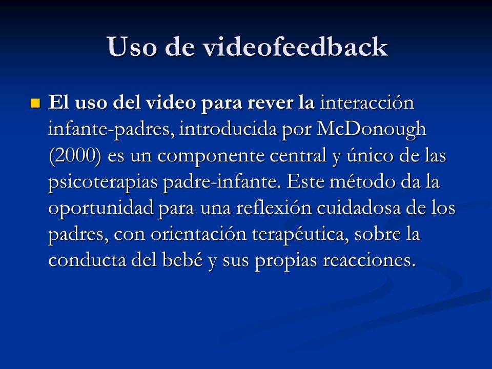 Uso de videofeedback El uso del video para rever la interacción infante-padres, introducida por McDonough (2000) es un componente central y único de l