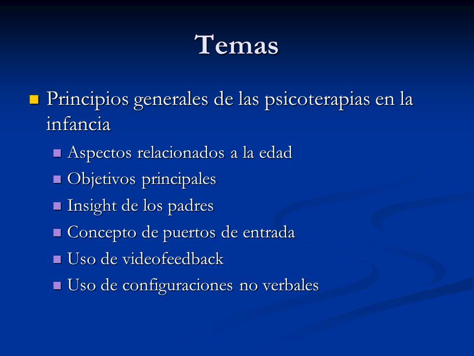 Temas Principios generales de las psicoterapias en la infancia Principios generales de las psicoterapias en la infancia Aspectos relacionados a la eda