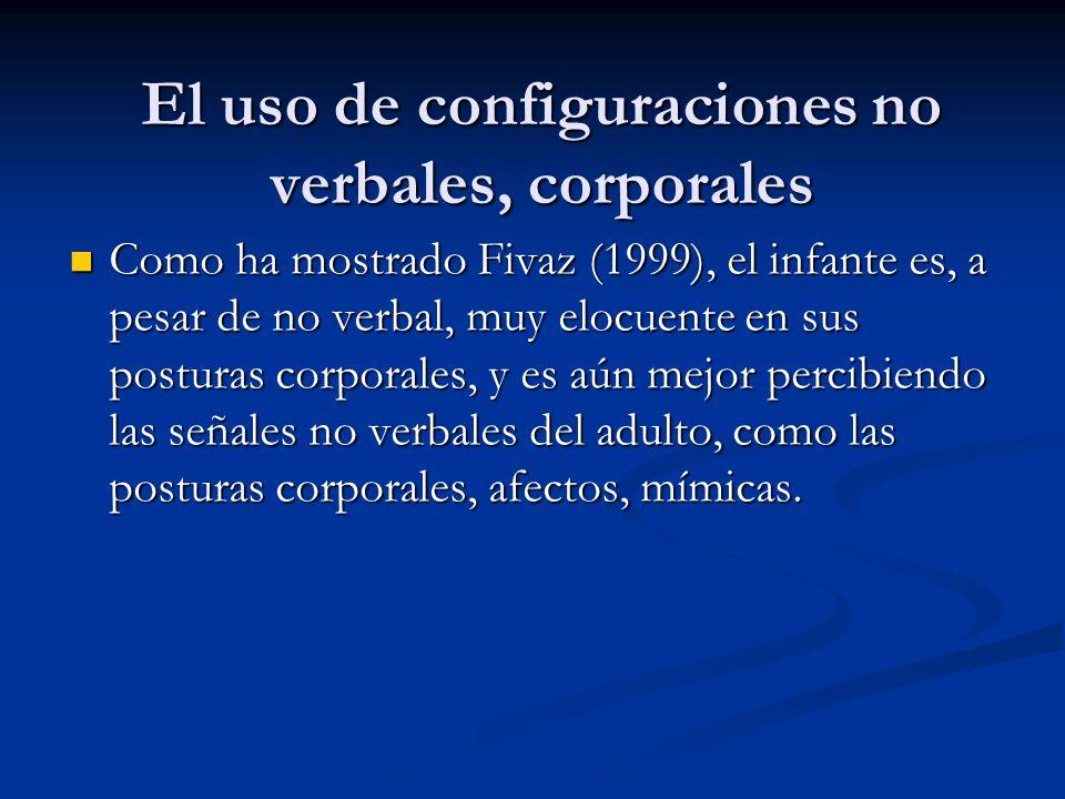 El uso de configuraciones no verbales, corporales Como ha mostrado Fivaz (1999), el infante es, a pesar de no verbal, muy elocuente en sus posturas co