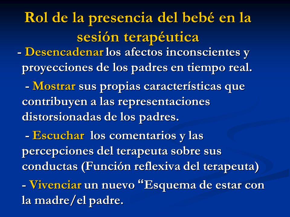Rol de la presencia del bebé en la sesión terapéutica - Desencadenar los afectos inconscientes y proyecciones de los padres en tiempo real. - Desencad