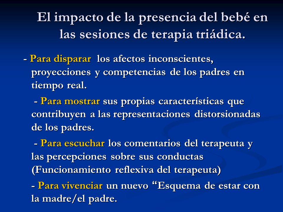 El impacto de la presencia del bebé en las sesiones de terapia triádica. - Para disparar los afectos inconscientes, proyecciones y competencias de los