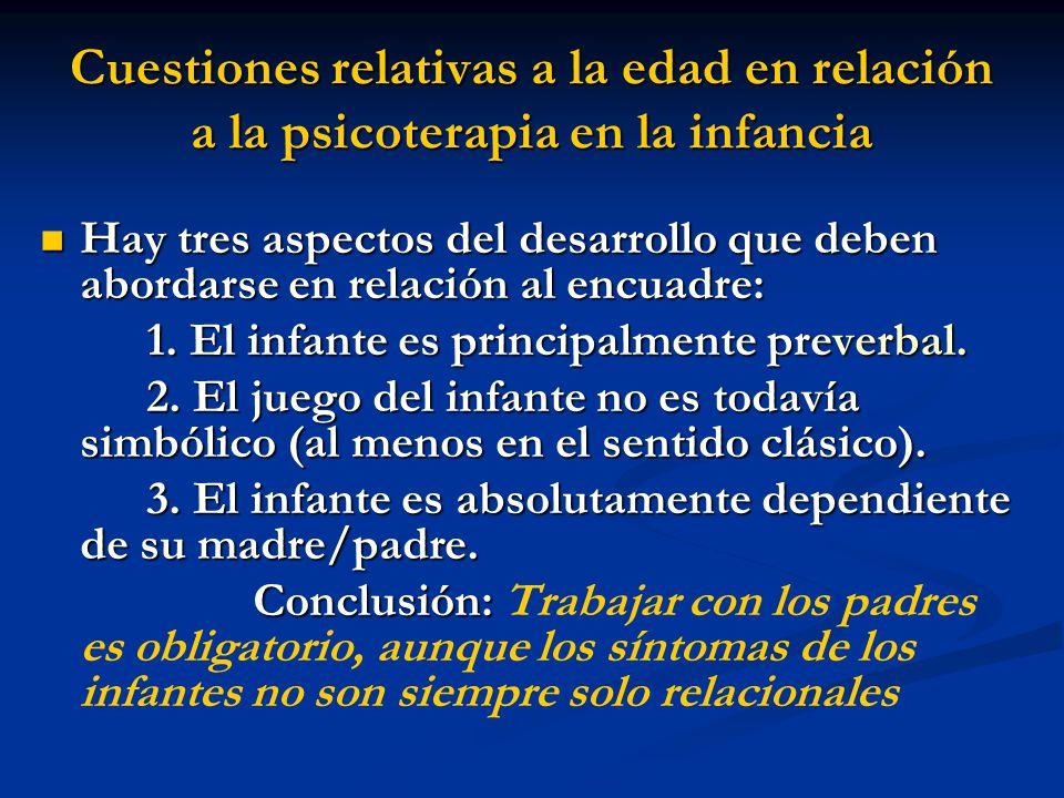 Cuestiones relativas a la edad en relación a la psicoterapia en la infancia Hay tres aspectos del desarrollo que deben abordarse en relación al encuad