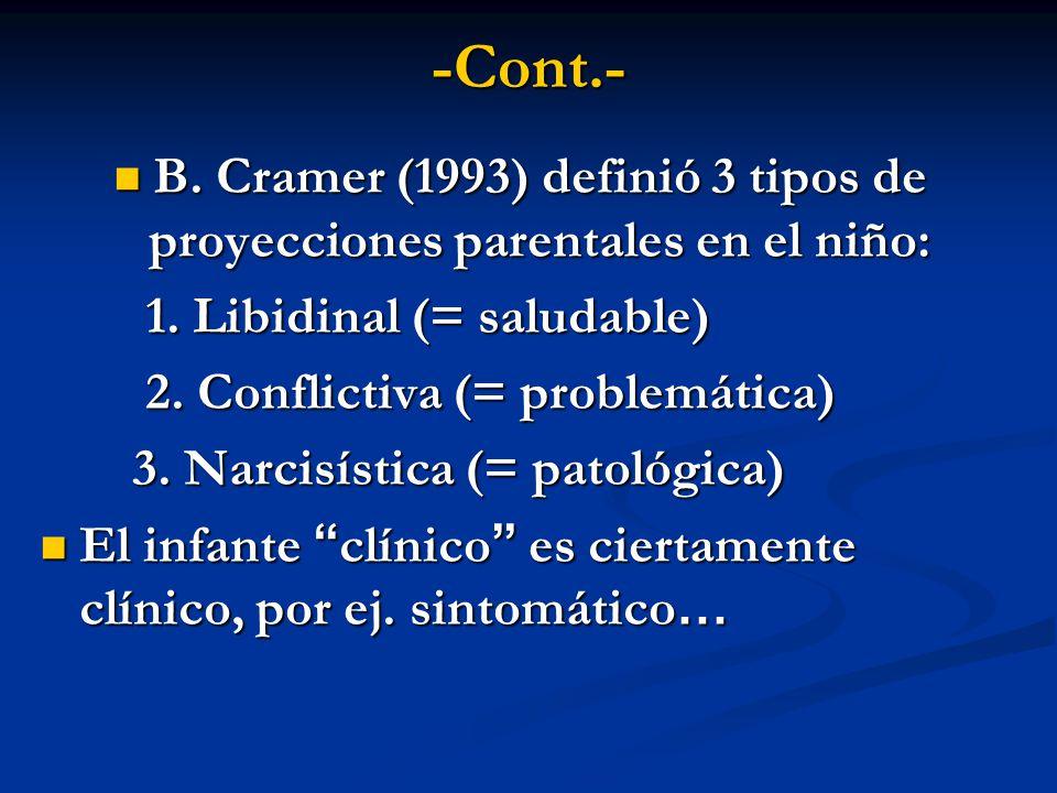 -Cont.- B. Cramer (1993) definió 3 tipos de proyecciones parentales en el niño: B. Cramer (1993) definió 3 tipos de proyecciones parentales en el niño
