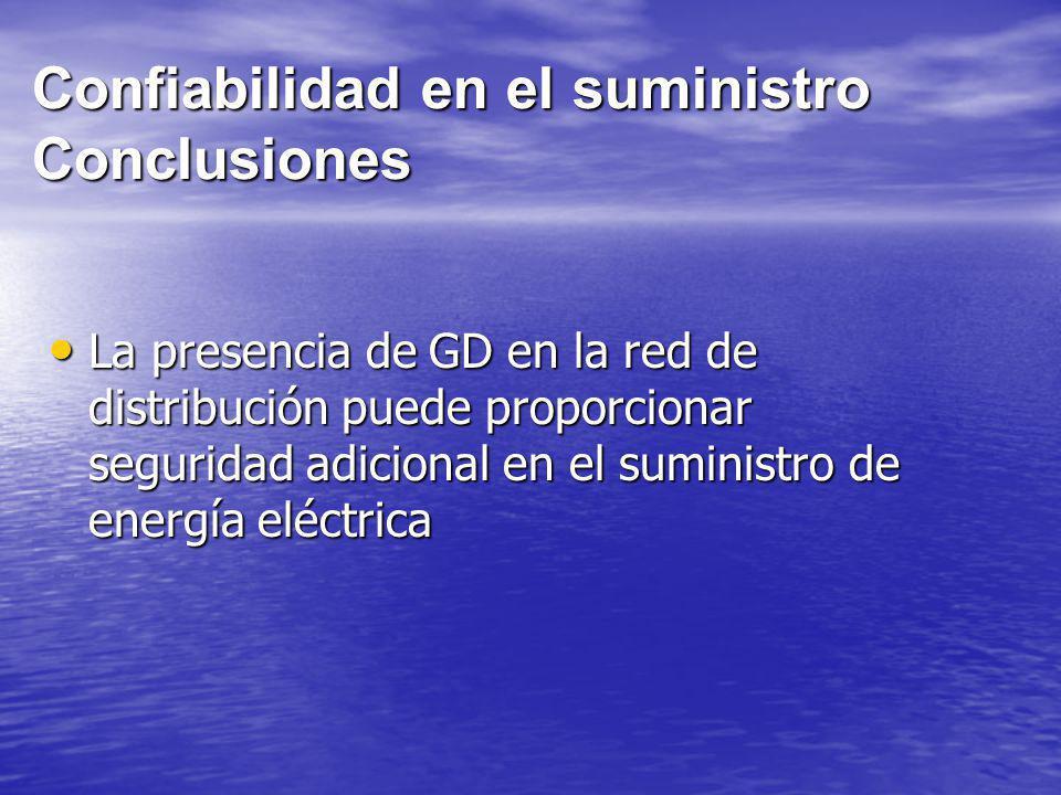 Confiabilidad en el suministro Conclusiones La presencia de GD en la red de distribución puede proporcionar seguridad adicional en el suministro de en