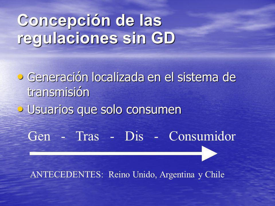 Concepción de las regulaciones sin GD Generación localizada en el sistema de transmisión Generación localizada en el sistema de transmisión Usuarios q