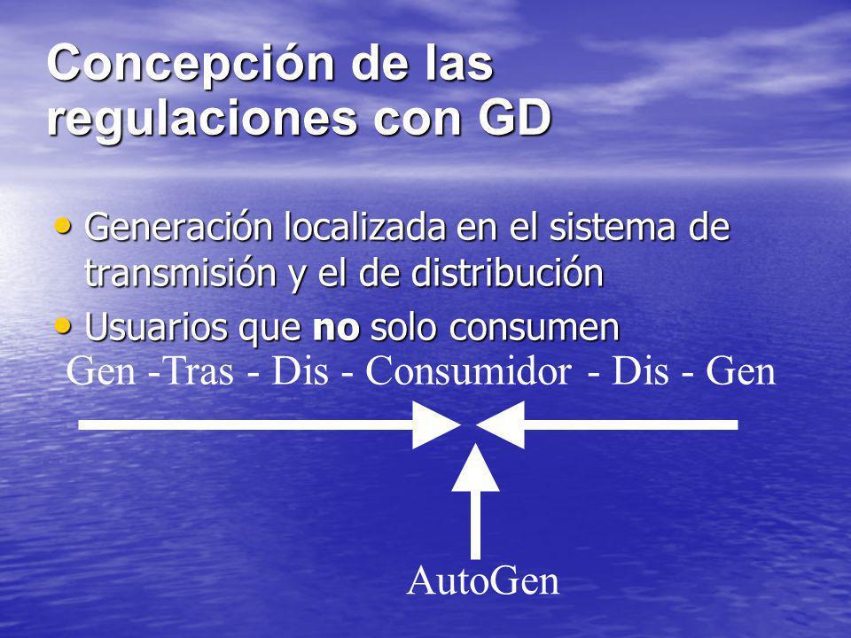 Concepción de las regulaciones con GD Generación localizada en el sistema de transmisión y el de distribución Generación localizada en el sistema de t